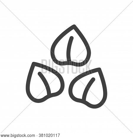 Buckwheat Icon. Several Seeds Are Loosely Arranged. Simple Minimalistic Image. Isolated Vector On Wh