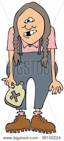 Redneck girl with moonshine
