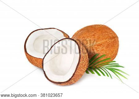 Coconut With Half. Fresh Raw Coconut With Palm Leaves Isolated On White Background. High Resolution