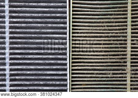 Close Up Macro Of New And Old Car Air Conditioner Filter Surfaces