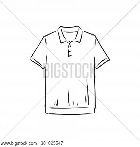 Polo Shirt Vector Sketch Icon Isolated On Background. Hand Drawn Polo Shirt Icon. Polo Shirt Sketch