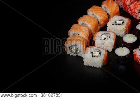 Set Of Sushi Roll On Black Slate Background Food Fish Philadelphia Japanese Salmon Delicious Sushi R