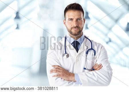 Male Doctor Portrait While Standing On The Hospital's Foyer