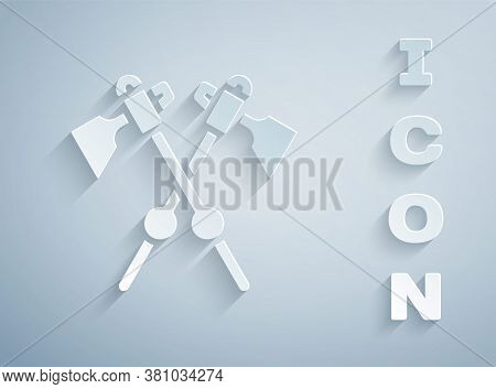 Paper Cut Crossed Medieval Axes Icon Isolated On Grey Background. Battle Axe, Executioner Axe. Medie