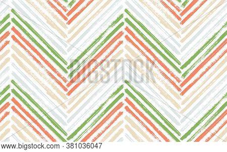Creative Chevron Fashion Print Vector Seamless Pattern. Paint Brush Stroke Geometric Stripes. Hand D