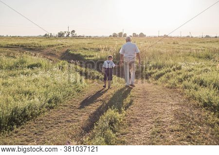 Happy Child With Grandfather Playing At The Meadow. Grandpa Retiree. Retirement Parent. Portrait Of