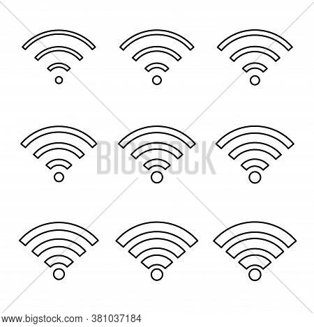 Set Of Wi-fi Internet Symbol, Wifi Free Signal Vector Illustration, Wireless Mobile Icon, Wi Fi Free