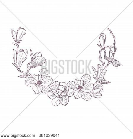 Premade Arrangement Magnolia Flowers. Hand Drawn Magnolia For Gretting Card