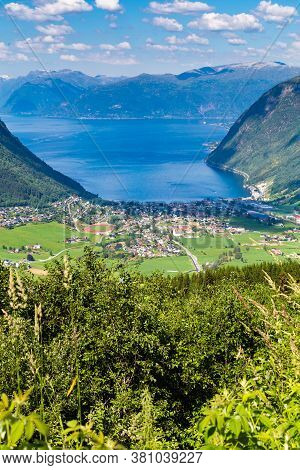 Aerial View Of The Village Vik In Sogn And Fjordane County In Norway At The Southern Shore Of The So