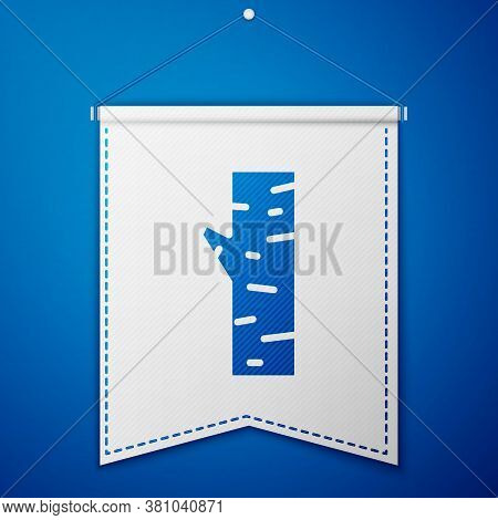 Blue Birch Tree Icon Isolated On Blue Background. White Pennant Template. Vector