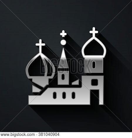 Silver Moscow Symbol - Saint Basils Cathedral, Russia Icon Isolated On Black Background. Long Shadow