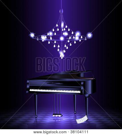 piano in the dark room
