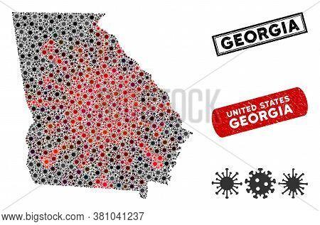 Coronavirus Collage American State Georgia Map And Distressed Stamp Seals. American State Georgia Ma