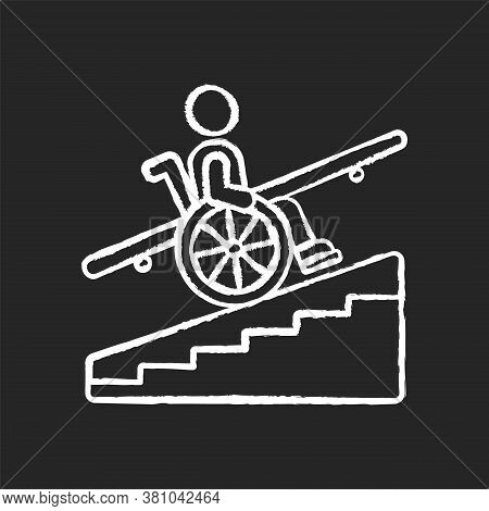 Step Free Access Chalk White Icon On Black Background. Wheelchairs And Strollers Access. Avoiding St