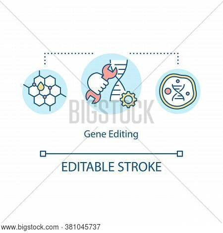 Gene Editing Concept Icon. Biohacking, Bioengineering Idea Thin Line Illustration. Genome Improvemen