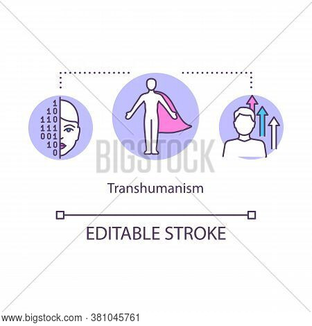 Transhumanism Concept Icon. Biohacking Idea Thin Line Illustration. Human Improvement Ideology. Body