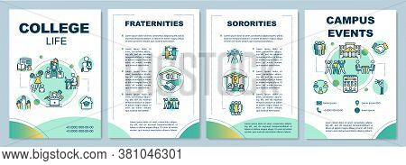 College Life Brochure Template. Fraternities And Sororities. Flyer, Booklet, Leaflet Print, Cover De