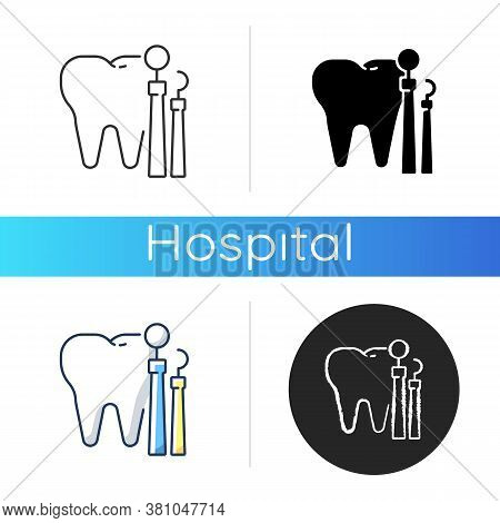 Dentistry Icon. Dental Medicine And Health. Endodontics And Orthodontics. Stomatology. Teeth Treatme