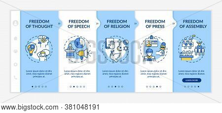 Basic Human Freedoms Onboarding Vector Template. Freedom Of Press. Fundamental Human Rights. Respons
