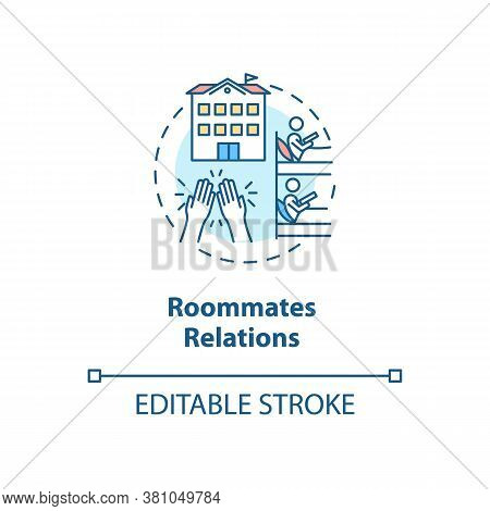 Roommates Relations Concept Icon. Dormitory Partner. Mate For Room Rental In University. College Lif