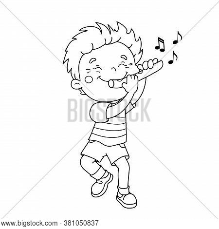 Coloring Page Outline Of Cartoon Boy Playing The Flute. Musical Instruments. Coloring Book For Kids