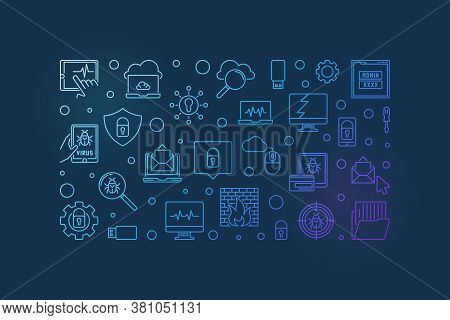 Cybersecurity And Computer Virus Vector Concept Line Horizontal Illustration Or Banner On Dark Backg