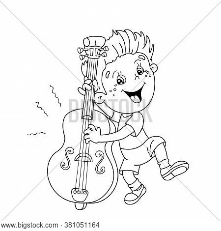 Coloring Page Outline Of Cartoon Boy Playing The Cello. Musical Instruments. Coloring Book For Kids