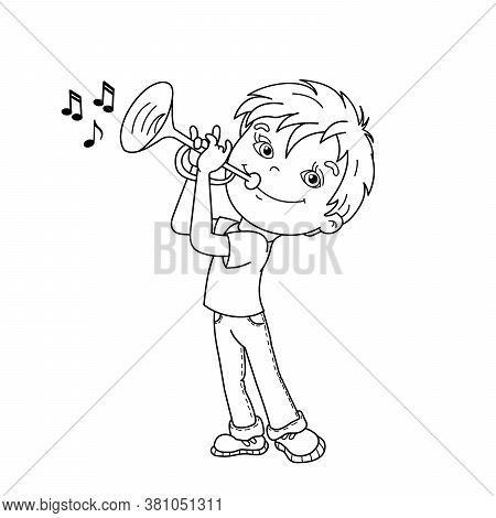 Coloring Page Outline Of Cartoon Boy Playing The Trumpet. Musical Instruments. Coloring Book For Kid