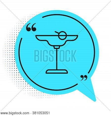 Black Line Margarita Cocktail Glass With Lime Icon Isolated On White Background. Blue Speech Bubble