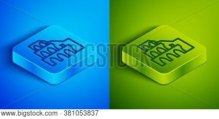 Isometric Line Coliseum In Rome, Italy Icon Isolated On Blue And Green Background. Colosseum Sign. S