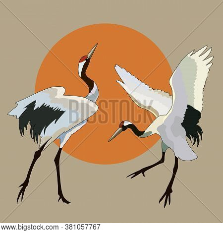 Drawing, Background With Storks And The Sun, Vector Illustration
