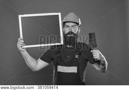 Plasterer Hipster Builder In Hard Hat Hold Blackboard Copy Space. Professional Plasterer. Dreams Com