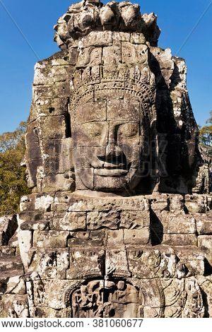 Faces of ancient Bayon Temple At Angkor Wat, Siem Reap, Cambodia