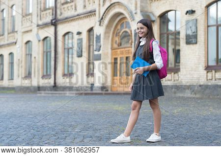 Make Back-to-school More Comfy. Happy Child Wear Formal Uniform. Wearing Uniform Jumper Dress. Fashi