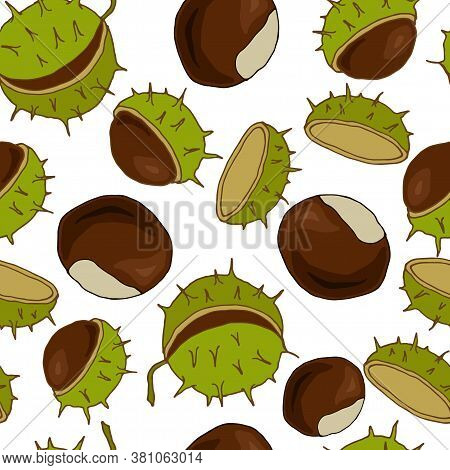 Seamless Pattern With Fruits Of Chestnut, Ornament For Fabric And Wallpaper, Scrapbooking Paper, Bac