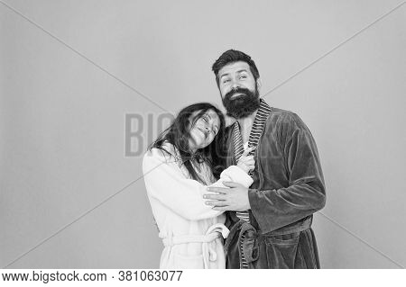 Wow Another Great Night. Sleepy Couple In Love In Leisure Wear. Happy Family Go To Sleep At Night. B