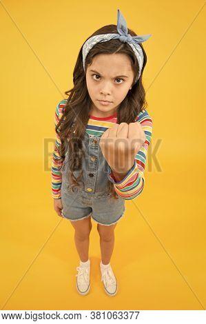 Go Away. Cute Baby Headscarf Bow. Adorable Little Girl With Perfect Curly Long Hair. Shampoo Hair An