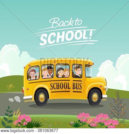 Back To School Concept. Cartoon School Bus With Children Going To School. Vector Illustration Eps10