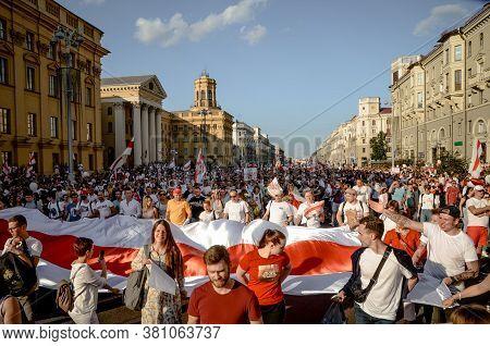 Minsk, Belarus - August 16, 2020: Belarusian People Participate In Peaceful Protest After Presidenti