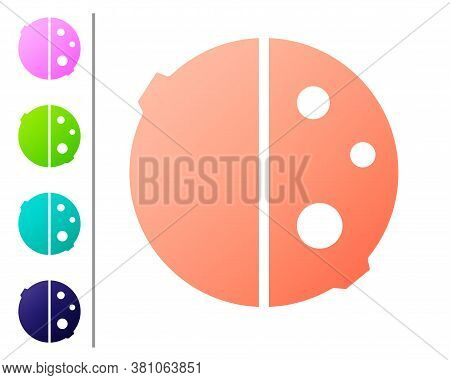 Coral Eclipse Of The Sun Icon Isolated On White Background. Total Sonar Eclipse. Set Color Icons. Ve