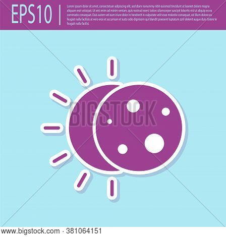 Retro Purple Eclipse Of The Sun Icon Isolated On Turquoise Background. Total Sonar Eclipse. Vector I