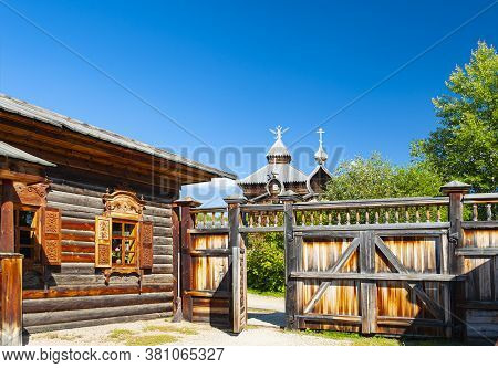Irkutsk, Russia - September 1, 2016:  Wooden House, An Example Of The Eastern Siberian Traditional A