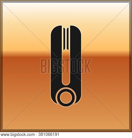 Black Curling Iron For Hair Icon Isolated On Gold Background. Hair Straightener Icon. Vector Illustr