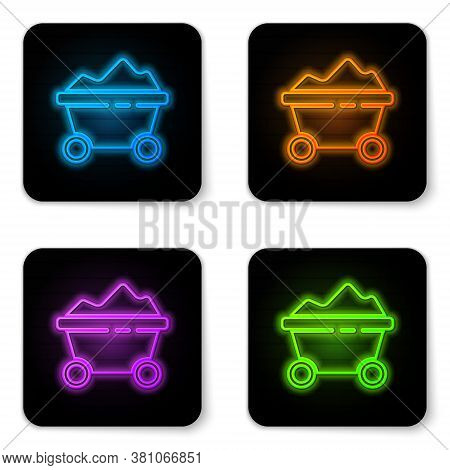 Glowing Neon Coal Mine Trolley Icon Isolated On White Background. Factory Coal Mine Trolley. Black S
