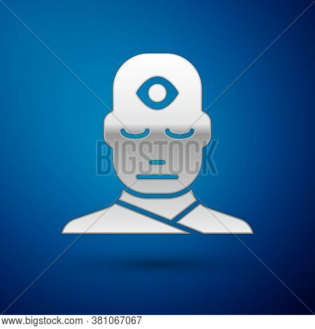 Silver Man With Third Eye Icon Isolated On Blue Background. The Concept Of Meditation, Vision Of Ene