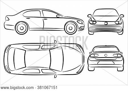Car Silhouette On White Background. Vehicle Icons Set View From Side, Front, Back, And Top