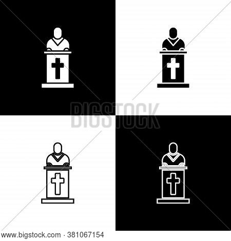 Set Church Pastor Preaching Icon Isolated On Black And White Background. Vector Illustration