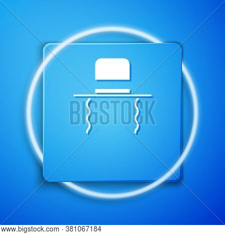 White Orthodox Jewish Hat With Sidelocks Icon Isolated On Blue Background. Jewish Men In The Traditi