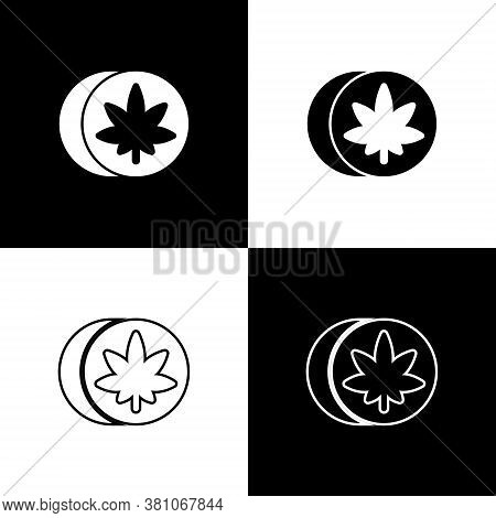 Set Herbal Ecstasy Tablets Icon Isolated On Black And White Background. Vector Illustration