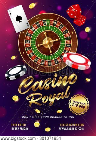 Casino Gambling, Roulette Win 3d Realistic Vector. Roulette Wheel And Dices, Card Ace Of Spades, Gol